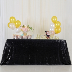 """Sequin Tablecloth 90""""X132""""Black"""