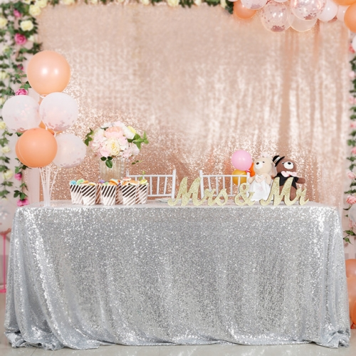 "Sequin Tablecloth 90""X132""Silver"
