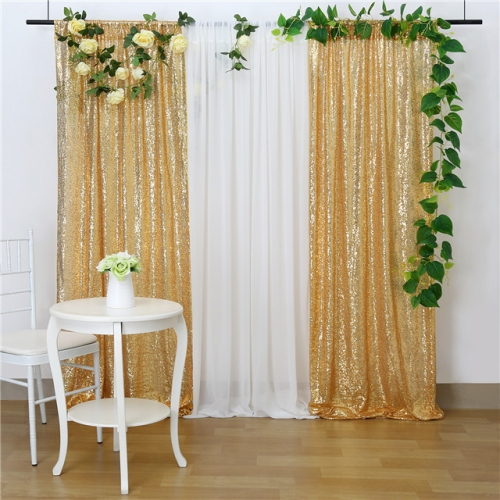 2 Pieces 2ftx8ft Gold Sequin Backdrop