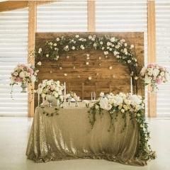 "Sequin Tablecloth 90""X132""Matte Gold"