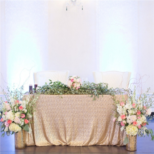 "Sequin Tablecloth 90""X132""Champagne"