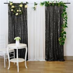 2 Pieces 2ftx8ft Black Sequin Backdrop