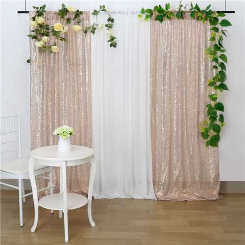 2 Pieces 2ftx8ft Champagne Sequin Backdrop