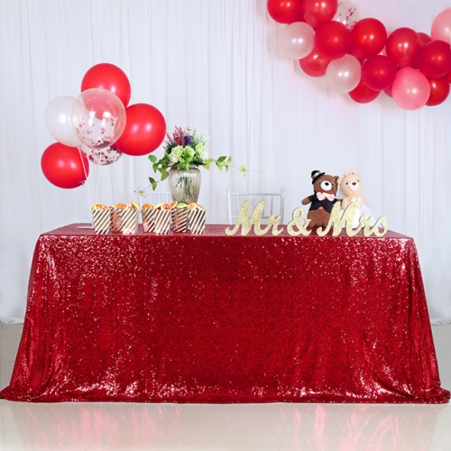 "Sequin Tablecloth 90""X132""Red"