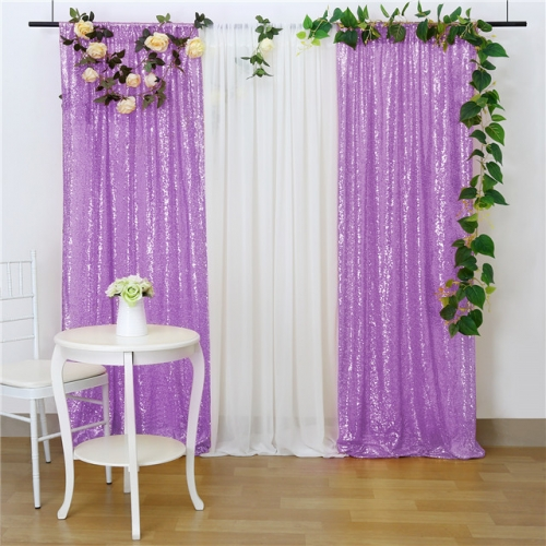 2 Pieces 2ftx8ft Light Purple Sequin Backdrop