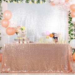 "Sequin Tablecloth 90""X132""Rose Gold"