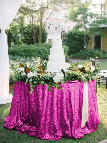 "Sequin Tablecloth 120""Fuchsia"