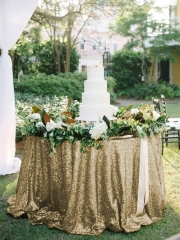 "Sequin Tablecloth 90""Matte Gold"