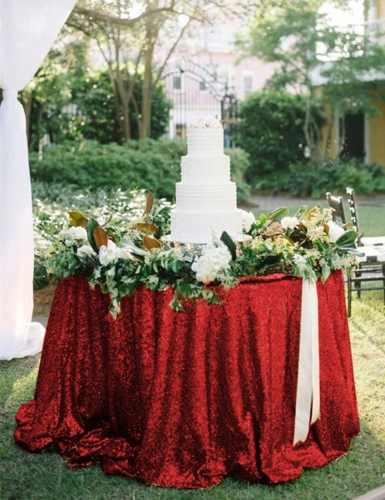 "Sequin Tablecloth 120""Red"