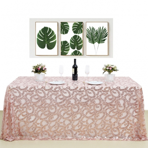"Sequin Tablecloth 60""X102""RoseGold Flower"