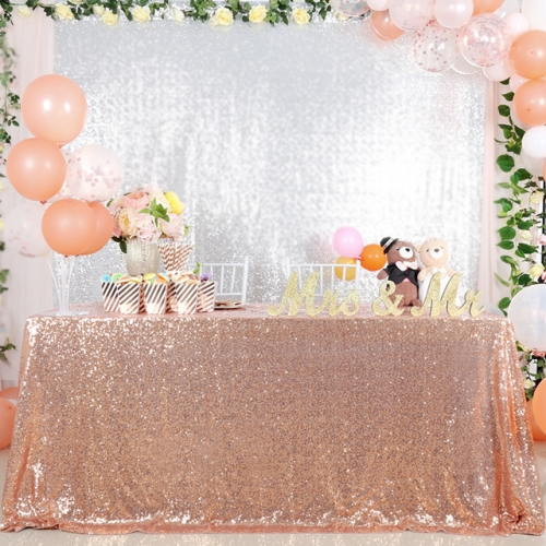 "Sequin Tablecloth 60""X102"" Rose Gold"