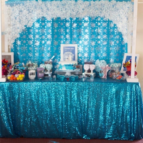 "Sequin Tablecloth 60""X102"" Aqua Blue"