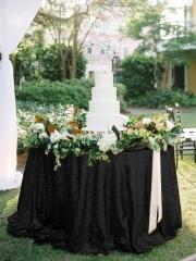 """Sequin Tablecloth 120""""Black"""