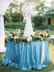 """Sequin Tablecloth 120""""Aqua Blue"""