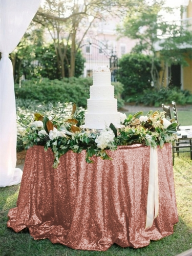 "Sequin Tablecloth 120""Blush"