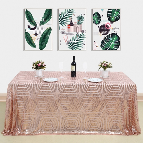 "Sequin Tablecloth 60""X102""Geometeic RoseGold"