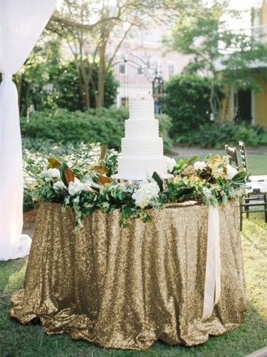 "Sequin Tablecloth 120""Matte Gold"