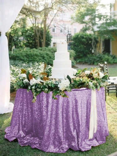 "Sequin Tablecloth 120""Lavender"
