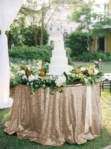 "Sequin Tablecloth 120""Champagne"