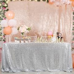 "Sequin Tablecloth 60""X102""Silver"