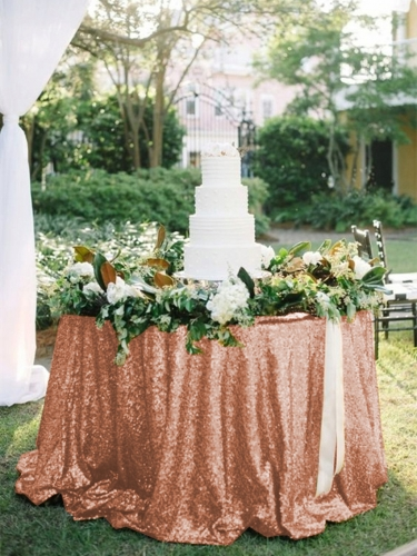 "Sequin Tablecloth 120""Rose Gold"