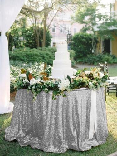"Sequin Tablecloth 120""Silver"