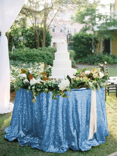 "Sequin Tablecloth 120""Light Blue"