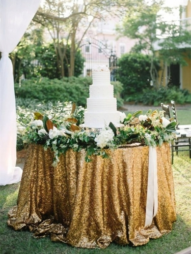 "Sequin Tablecloth 120""Gold"