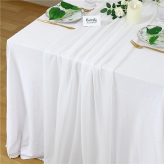 "27""x120"" White Chiffon Table Runner"