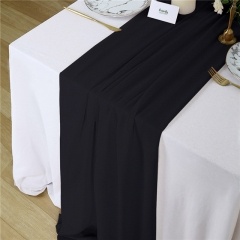 "27""x120"" Black Chiffon Table Runner"