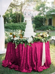 "Sequin Tablecloth 90""Burgundy"
