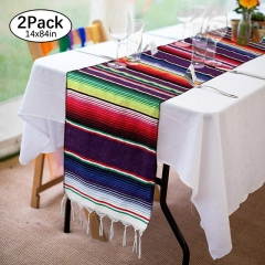 "2 Pieces 14""x84"" Purple Mexican Table Runner"