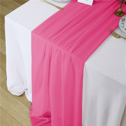 "27""x120"" Rose Red Chiffon Table Runner"