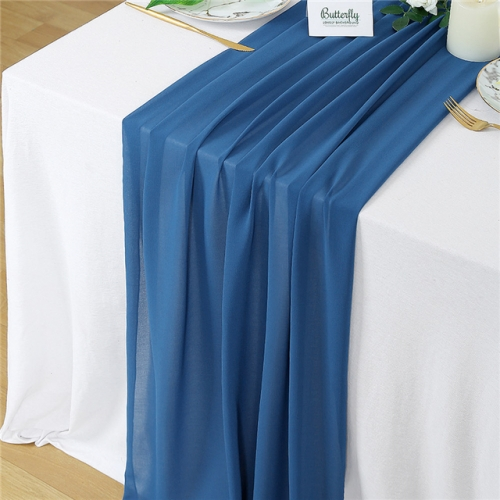 "27""x120"" Navy Chiffon Table Runner"