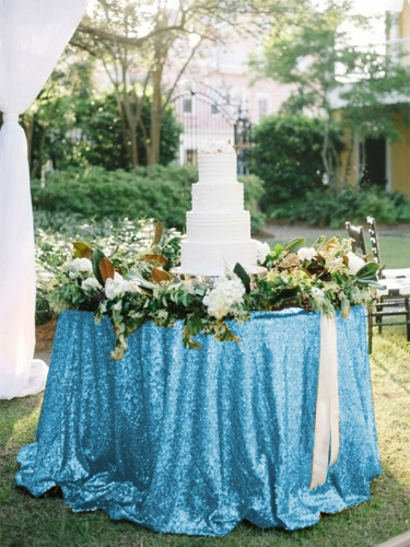 "Sequin Tablecloth 90""Aqua Blue"