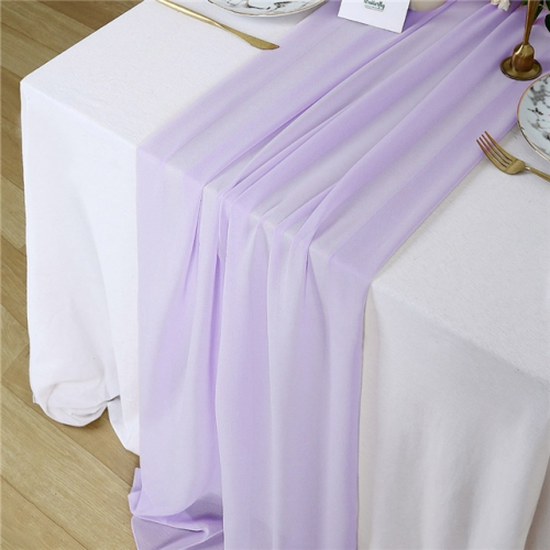 "27""x120"" Light Purple Chiffon Table Runner"