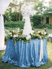 "Sequin Tablecloth 90""Light Blue"