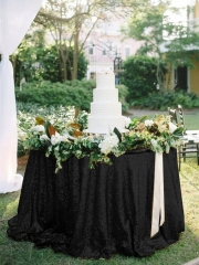 "Sequin Tablecloth 90""Black"