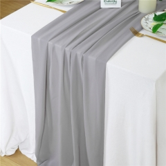 "27""x120"" Light Gray Chiffon Table Runner"