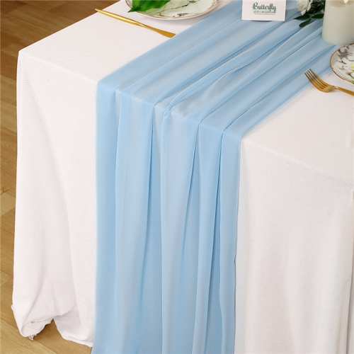 "27""x120"" Light Blue Chiffon Table Runner"
