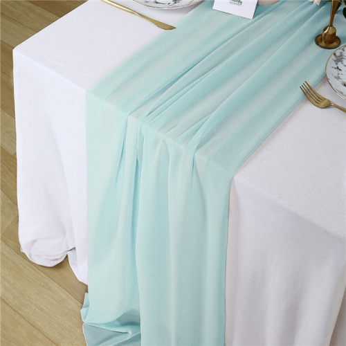 "27""x120"" Green Chiffon Table Runner"