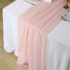 "27""x120"" Light Peach Chiffon Table Runner"