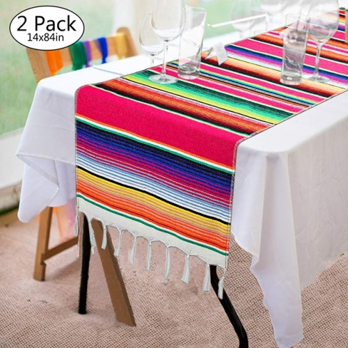 "2 Pieces 14""x84"" Pink Mexican Table Runner"