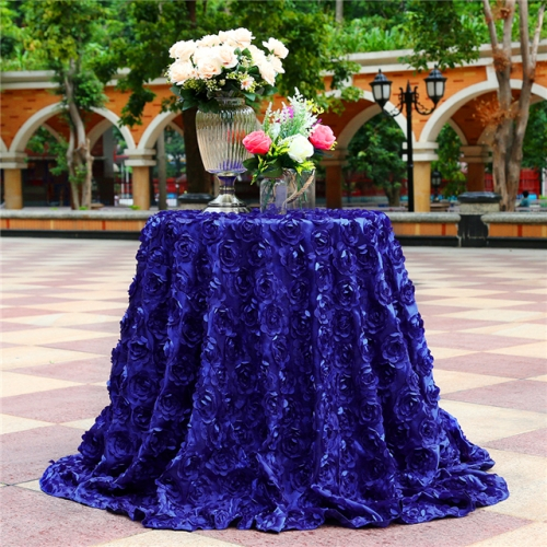"Rosette Tablecloth Navy 120""Round"