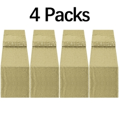 "4 Pack 12""x108"" Sequin Table Runner Matte Gold"