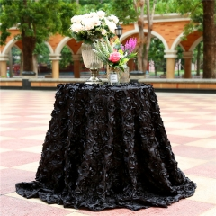 "Rosette Tablecloth Black 120""Round"