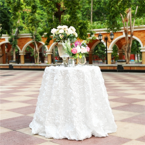 """Rosette Tablecloth White 120""""Round"""