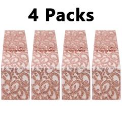 """4 Pack 12""""x108"""" Sequin Table Runner Rose Gold Flower"""