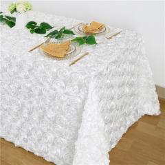 "Rosette Tablecloth White 90x132"""
