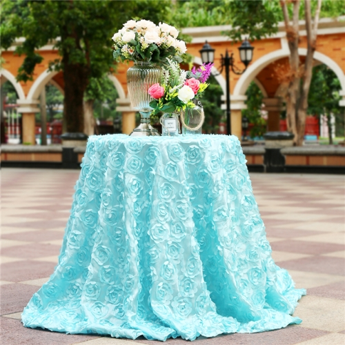 "Rosette Tablecloth Baby Blue 120""Round"